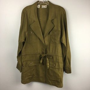 BEAUTIFUL OLIVE GREEN RAFAELLA LINEN JACKET SIZE S